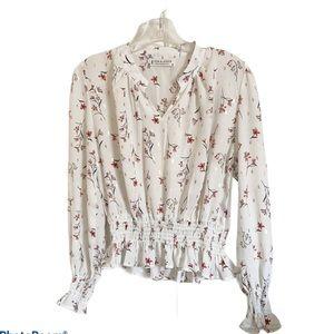 jon & anna contemporary floral ruffled blouse